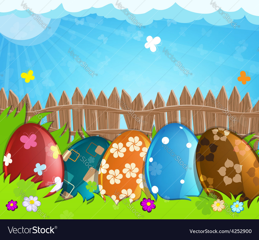 Colorful easter eggs near a wooden fence in the vector | Price: 3 Credit (USD $3)