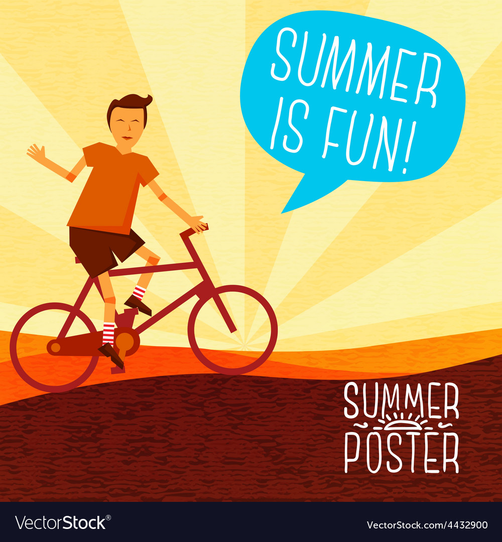 Cute summer poster - bike riding with speech vector | Price: 3 Credit (USD $3)