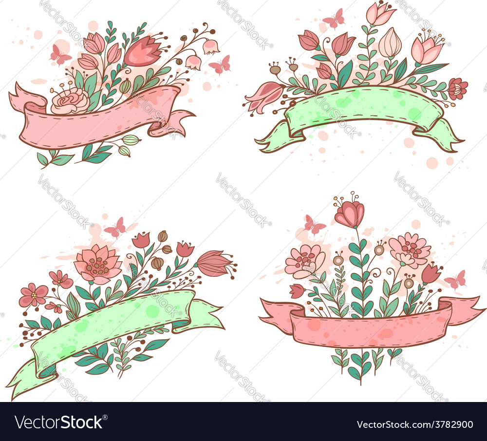 Floral hand drawn banners vector | Price: 1 Credit (USD $1)