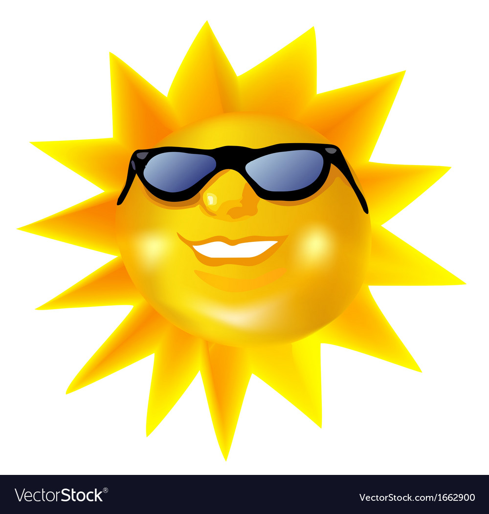 Funky fashionable sun wearing spectacles vector | Price: 1 Credit (USD $1)