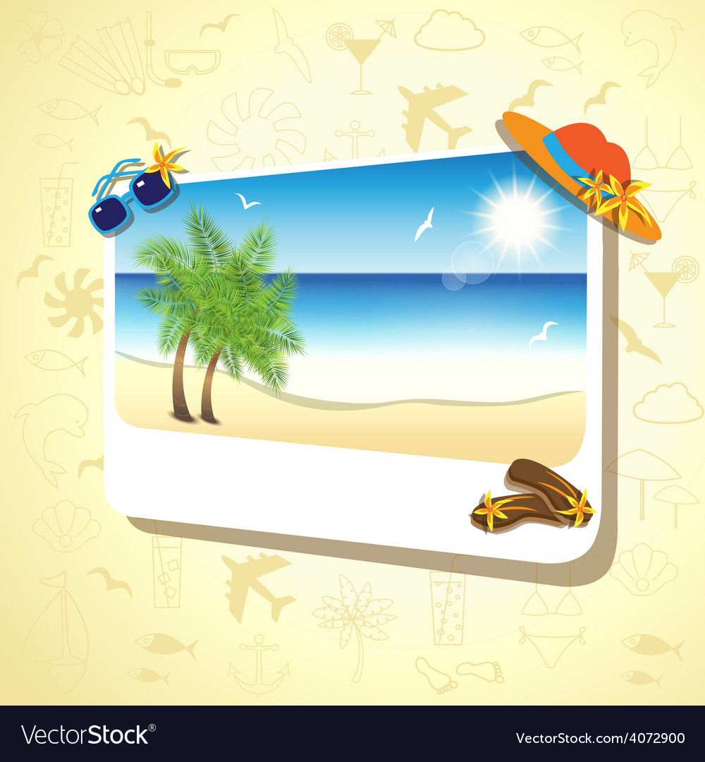 Picture of the sand beach landscape with palm vector | Price: 3 Credit (USD $3)
