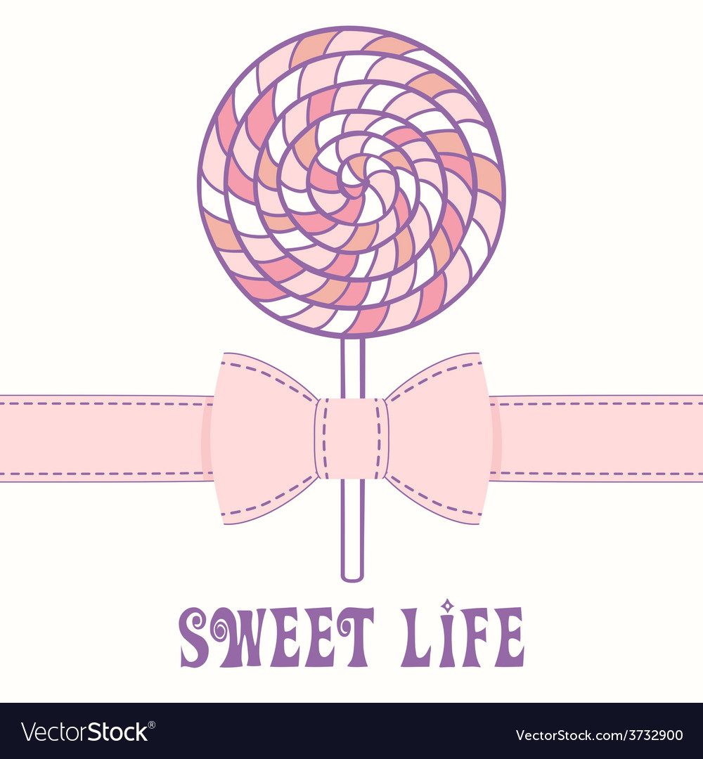 Pink lollipop with ribbon vector | Price: 1 Credit (USD $1)