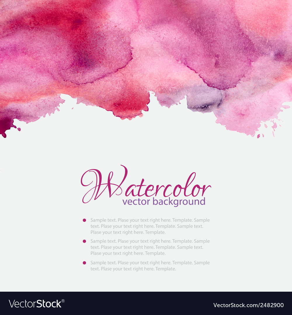 Pink watercolor blots pattern top frame vector | Price: 1 Credit (USD $1)