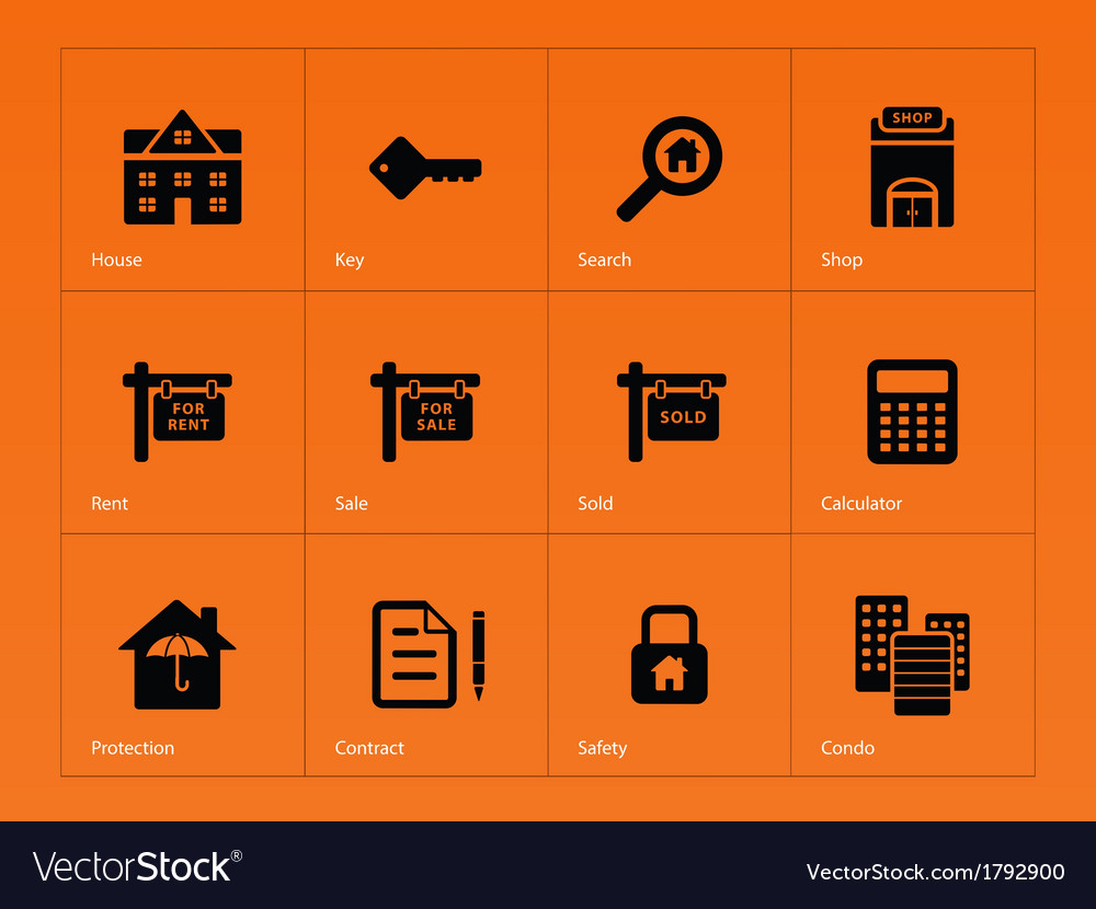 Real estate icons on orange background vector | Price: 1 Credit (USD $1)