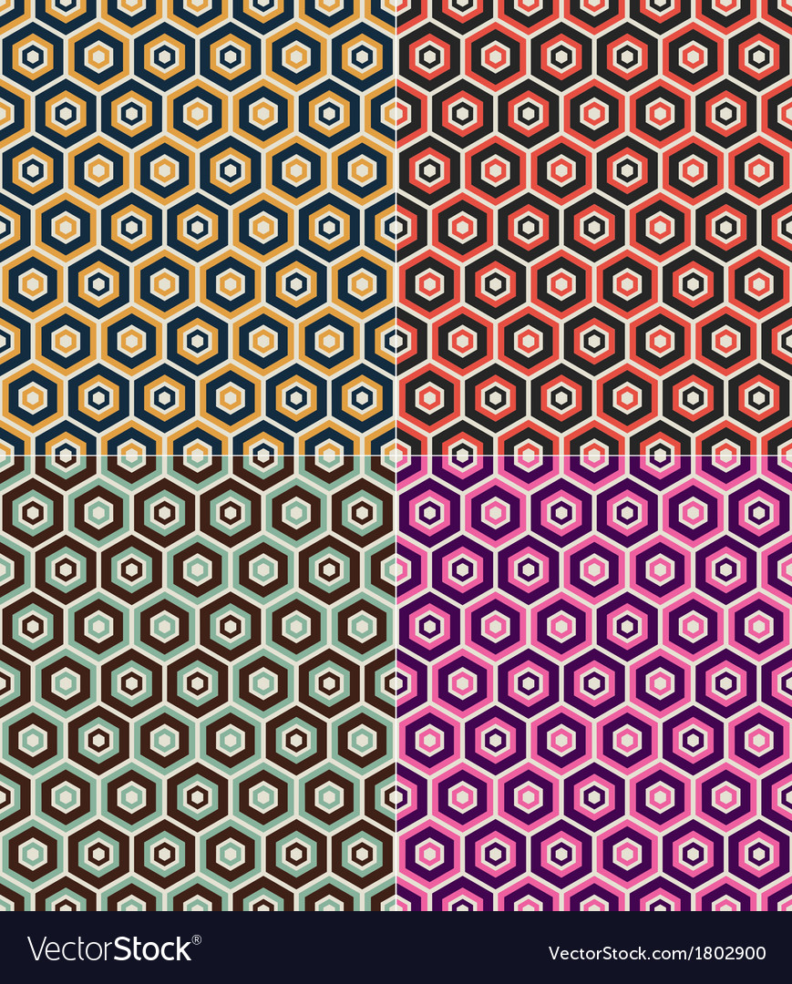 Seamless hexagon retro pattern vector | Price: 1 Credit (USD $1)