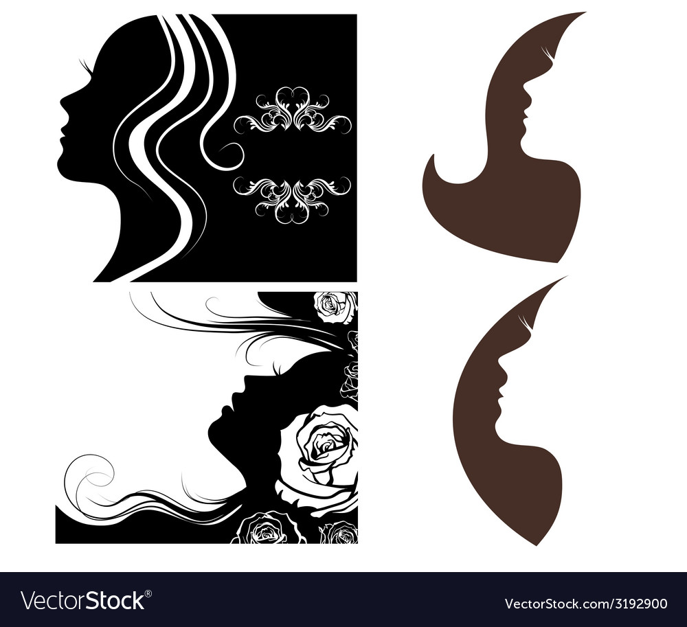 Set of beautiful silhouettes of women vector | Price: 1 Credit (USD $1)