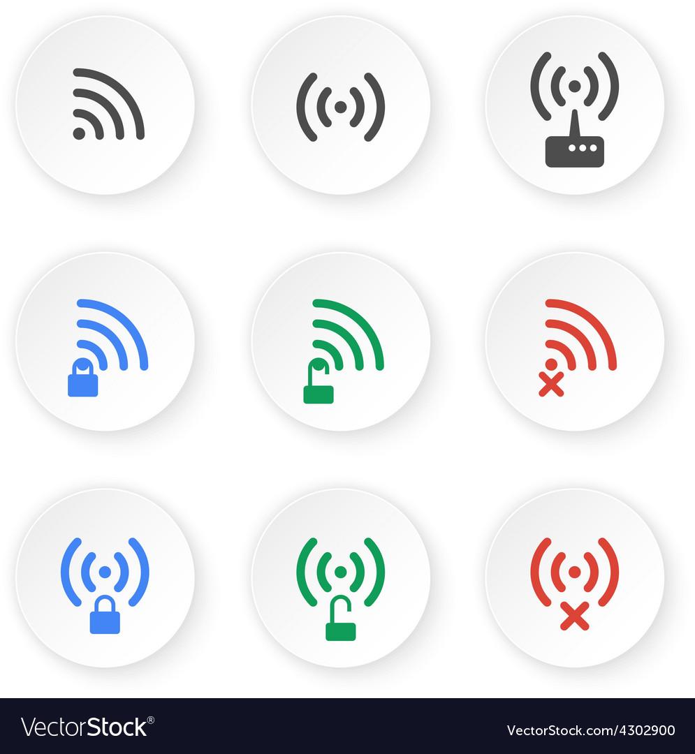 Set of icons of wireless connections vector | Price: 1 Credit (USD $1)
