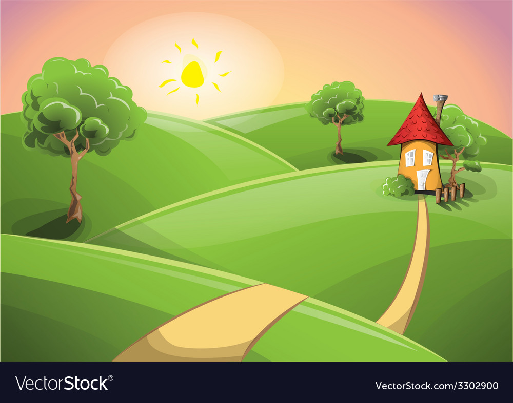 Small cartoon house on a sunset vector | Price: 3 Credit (USD $3)
