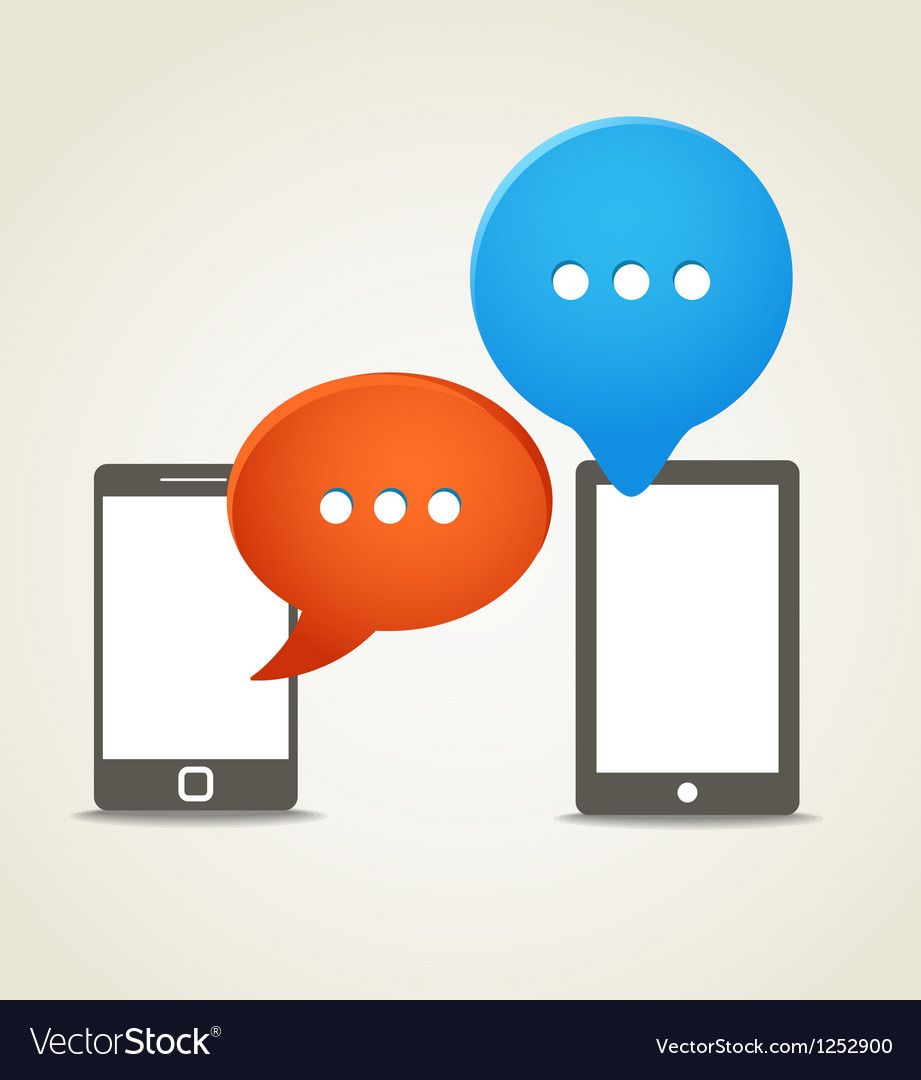 Two modern mobile phone with speech clouds vector | Price: 1 Credit (USD $1)