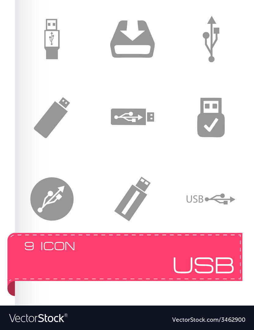 Usb icons set vector | Price: 1 Credit (USD $1)
