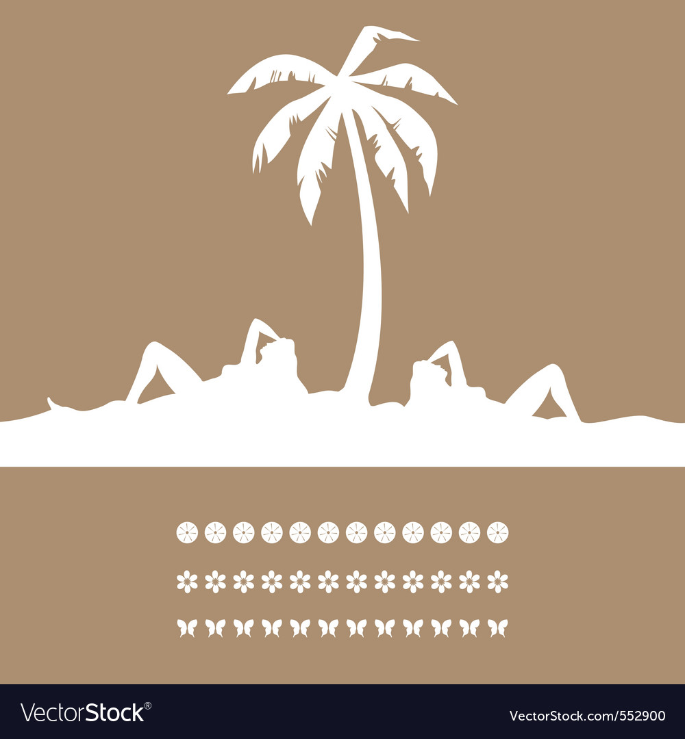 Women have a rest on a resort under a palm tree a vector | Price: 1 Credit (USD $1)