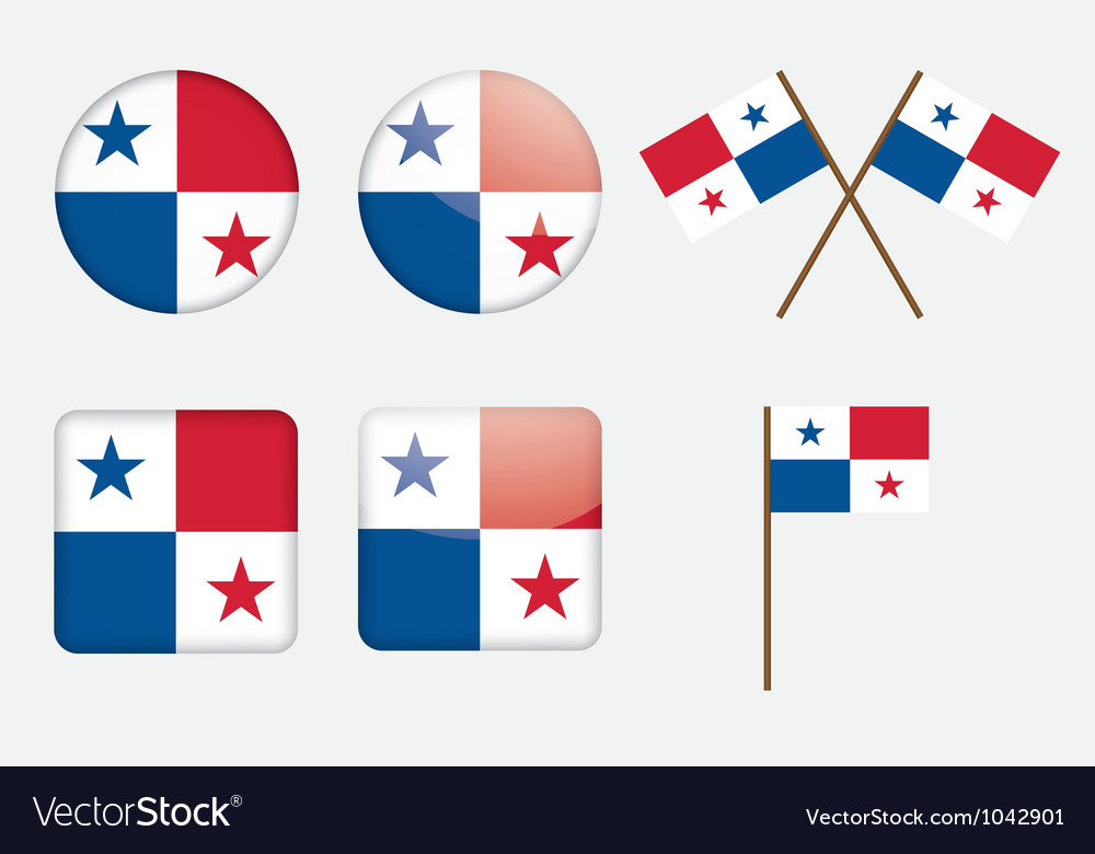 Badges with flag of panama vector | Price: 1 Credit (USD $1)