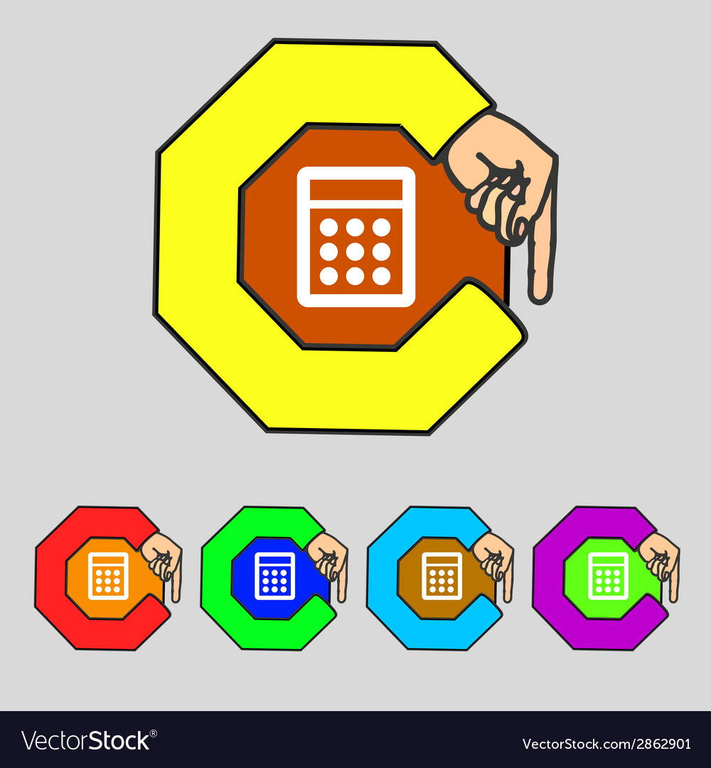 Calculator sign icon bookkeeping symbol set vector | Price: 1 Credit (USD $1)