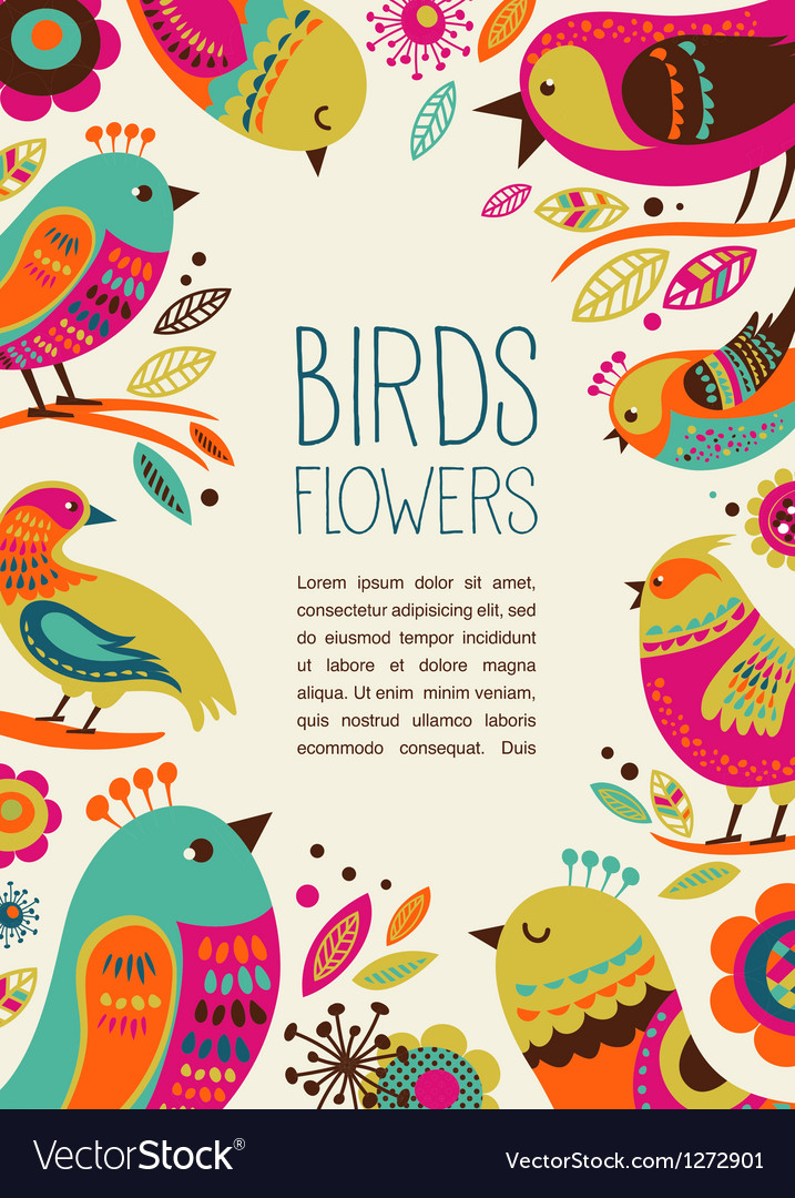 Colorful background with cute decorative birds vector | Price: 3 Credit (USD $3)