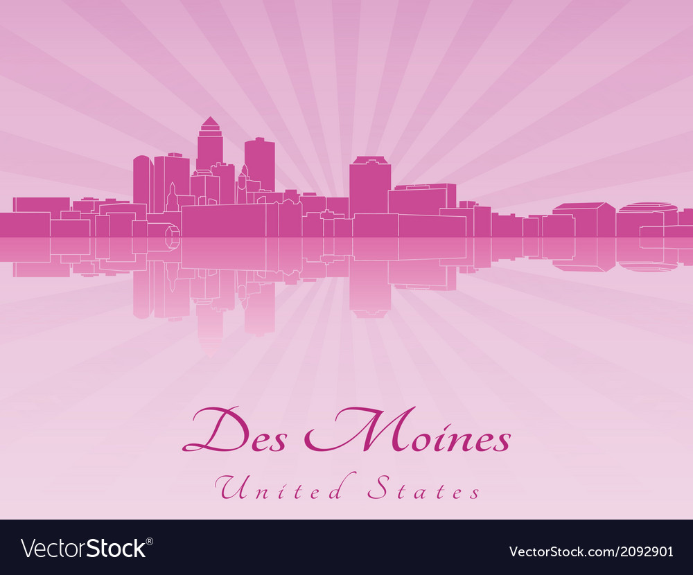 Des moines skyline in purple radiant orchid vector | Price: 1 Credit (USD $1)