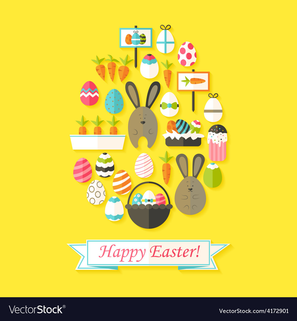 Easter holiday greeting card with flat icons set vector | Price: 1 Credit (USD $1)