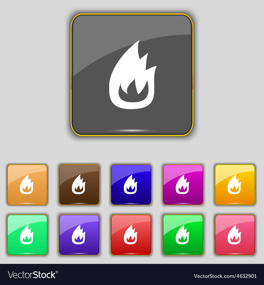 Fire flame icon sign set with eleven colored vector | Price: 1 Credit (USD $1)