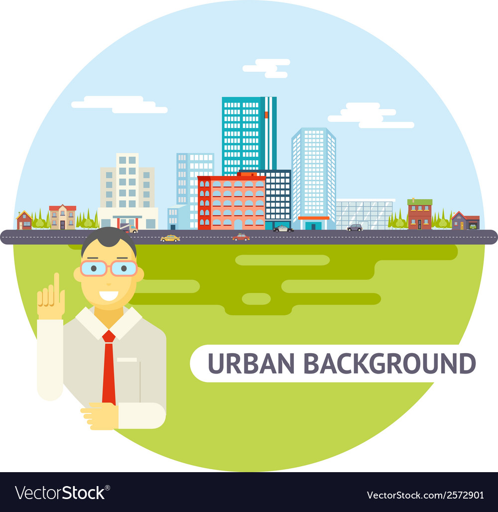 Geek businessman urban landscape city real estate vector | Price: 1 Credit (USD $1)