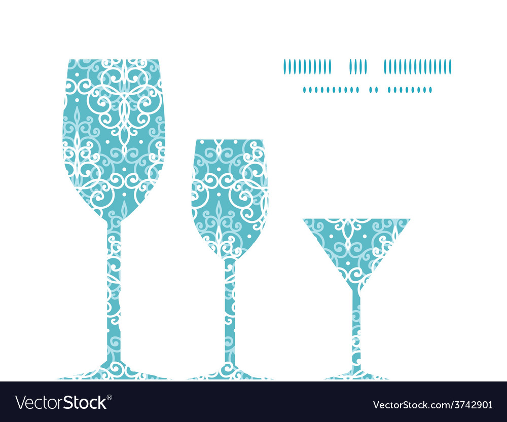 Light blue swirls damask three wine glasses vector | Price: 1 Credit (USD $1)