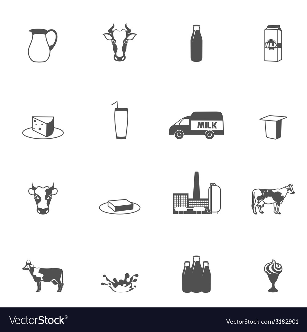 Milk black icons set vector