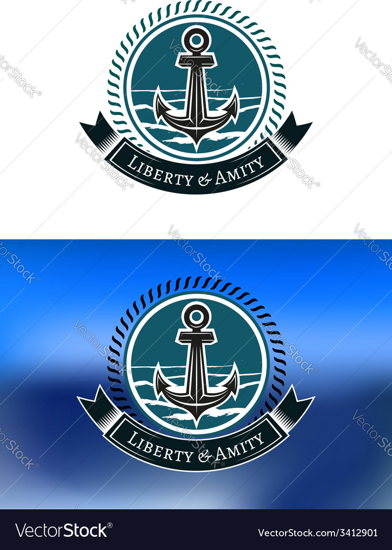 Nautical badges with ships anchors vector | Price: 1 Credit (USD $1)