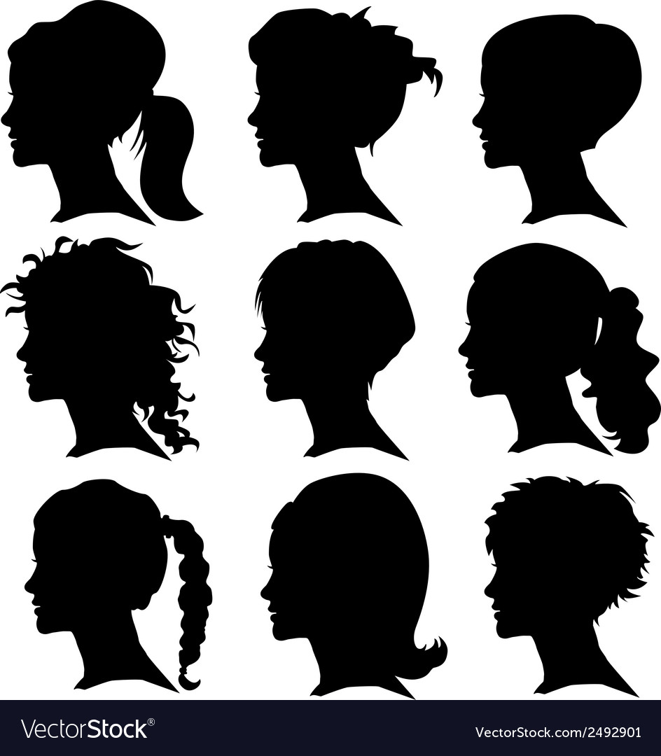 Set of woman silhouette with hair styling vector | Price: 1 Credit (USD $1)