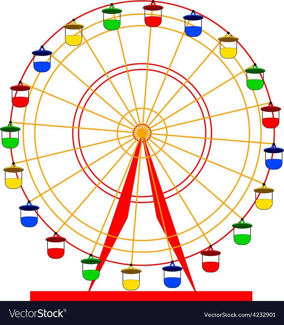Silhouette atraktsion colorful ferris wheel vector | Price: 1 Credit (USD $1)