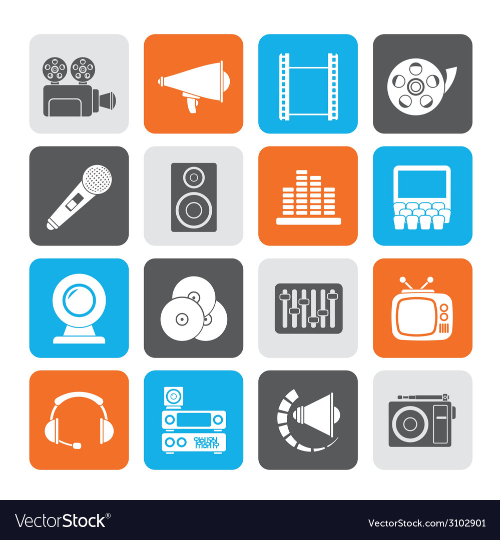 Silhouette audio and video icons vector | Price: 1 Credit (USD $1)