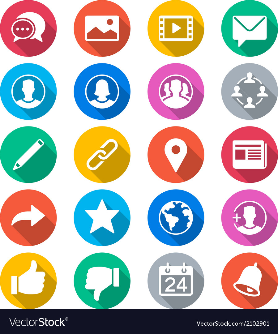 Social network flat color icons vector | Price: 1 Credit (USD $1)