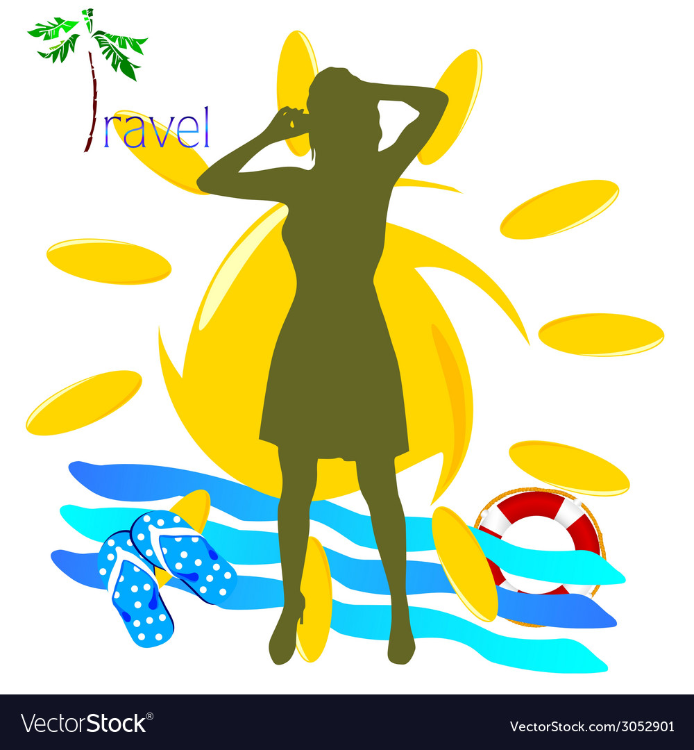 Travel girl with mobil phone vector | Price: 1 Credit (USD $1)