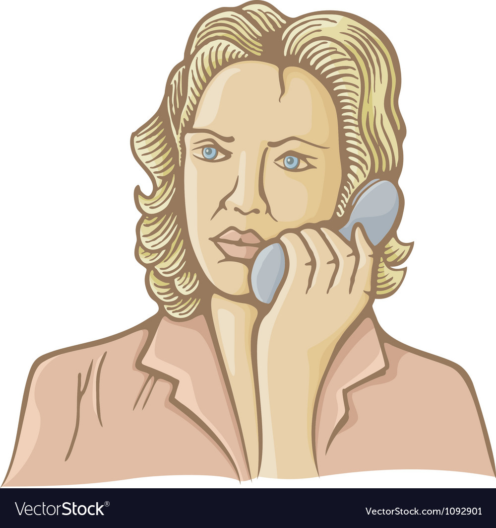 Woman on phone vector | Price: 1 Credit (USD $1)
