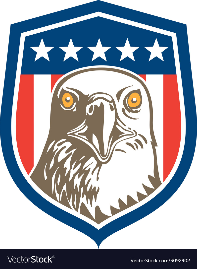 American bald eagle head stars shield retro vector | Price: 1 Credit (USD $1)