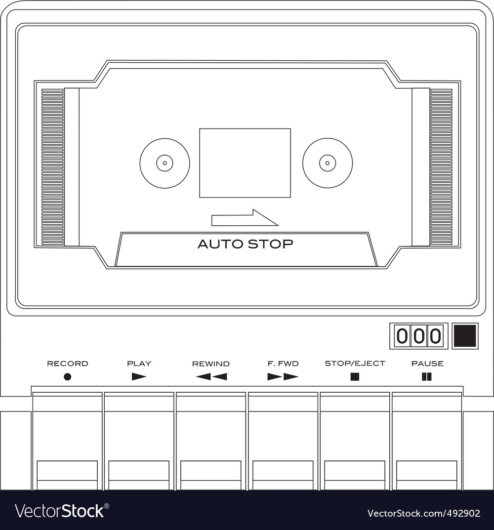 Audio tape cassette player vector | Price: 1 Credit (USD $1)