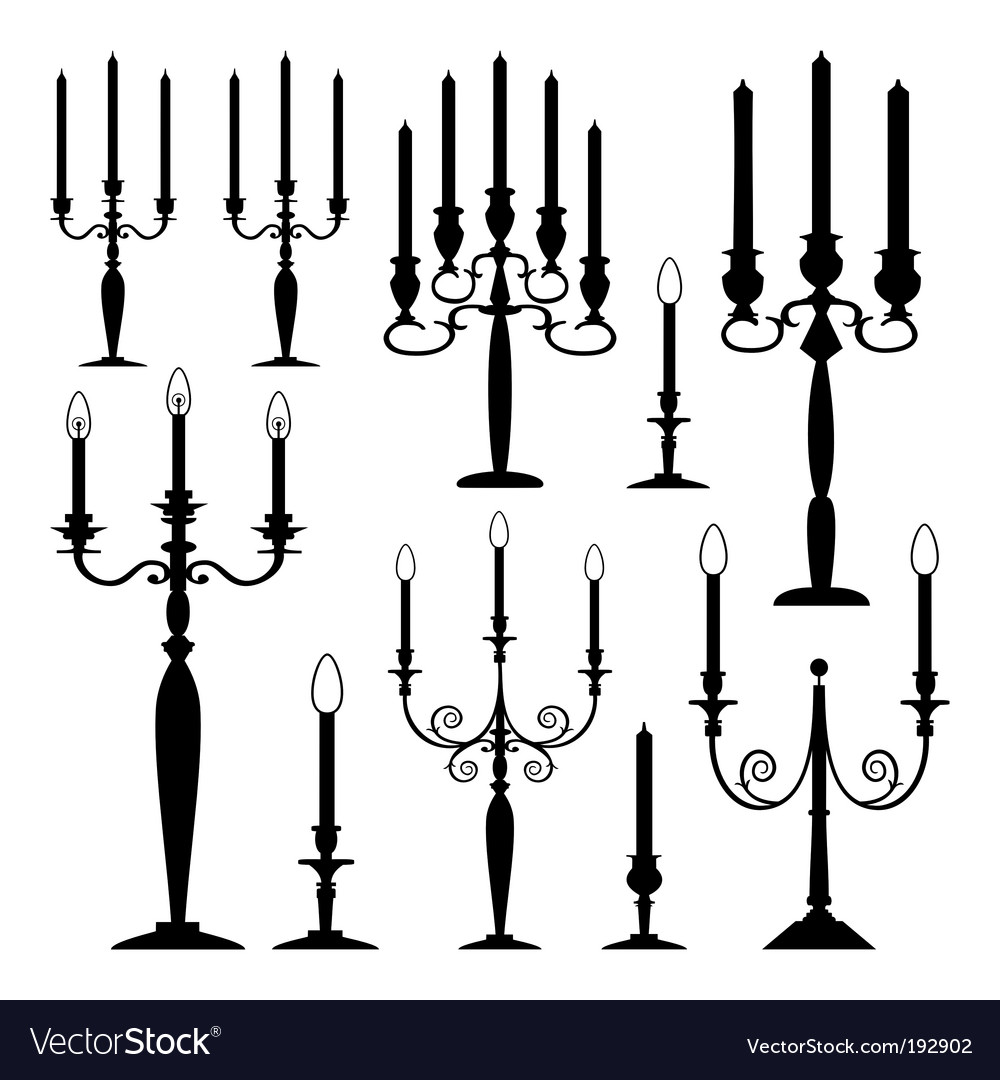 Candle silhouettes vector | Price: 1 Credit (USD $1)