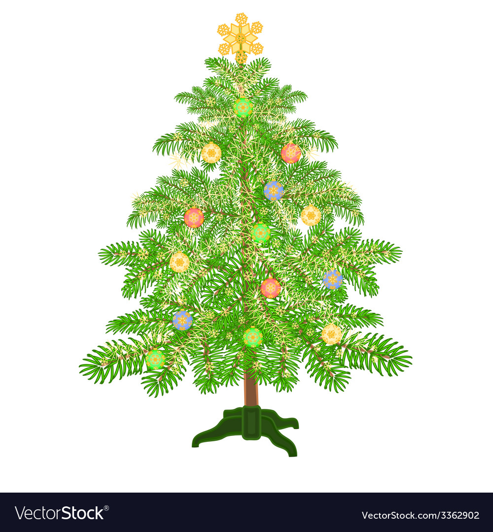 Christmas decoration tree with baubles vector | Price: 1 Credit (USD $1)