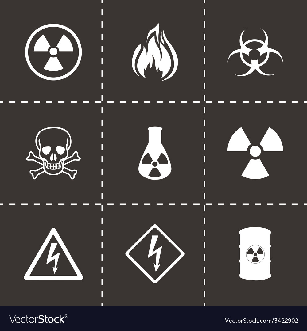 Danger icons set vector | Price: 1 Credit (USD $1)