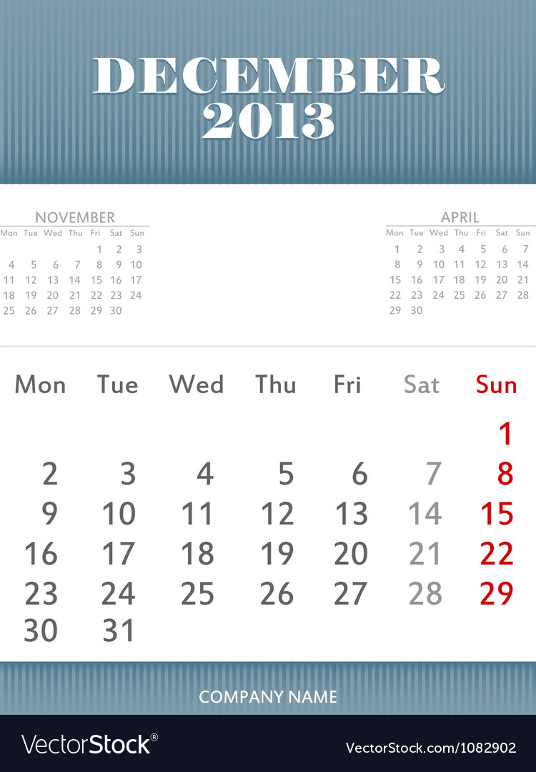 December 2013 calendar design vector | Price: 1 Credit (USD $1)