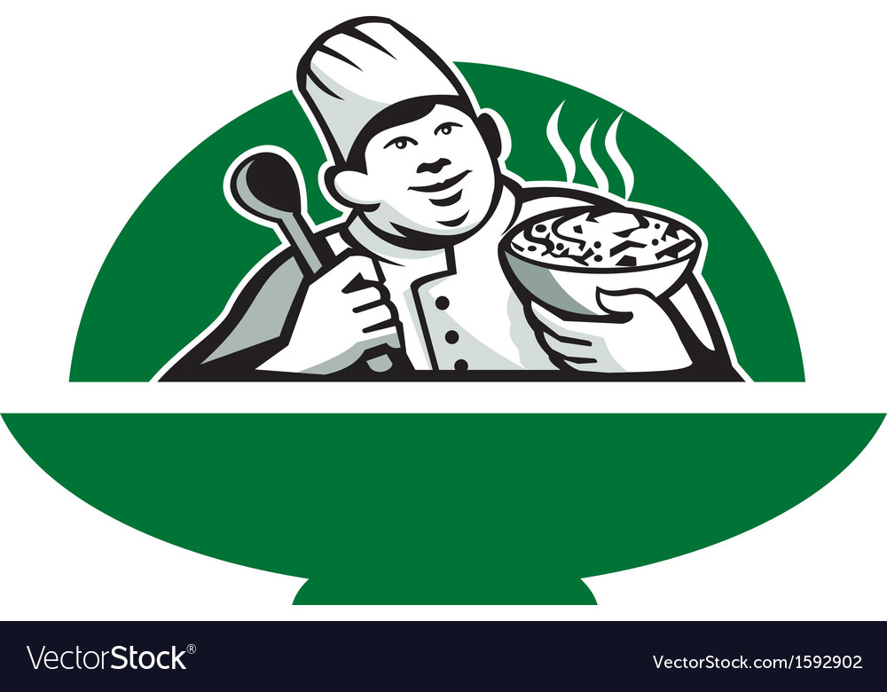 Fat chef cook holding bowl spoon retro vector | Price: 1 Credit (USD $1)