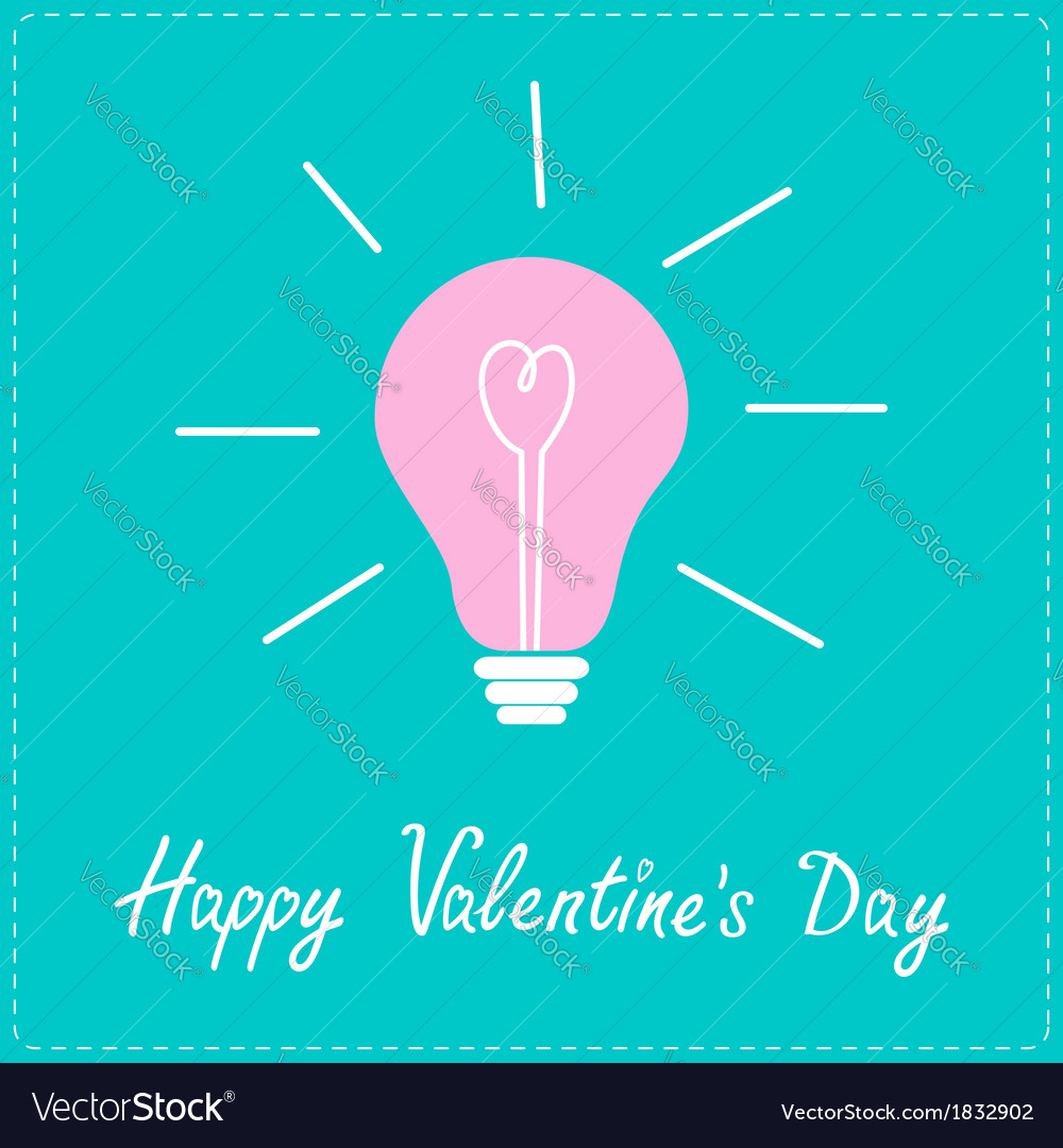 Pink bulb with heart inside happy valentines day vector | Price: 1 Credit (USD $1)
