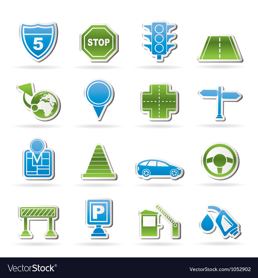 Road and travel icons vector | Price: 1 Credit (USD $1)