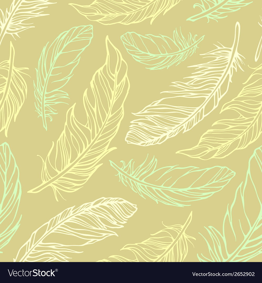 Seamless pattern with outline decorative feathers vector | Price: 1 Credit (USD $1)