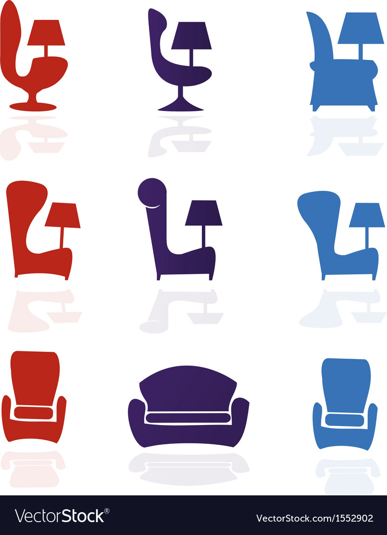 Set of armchair chairfurniture vector | Price: 1 Credit (USD $1)