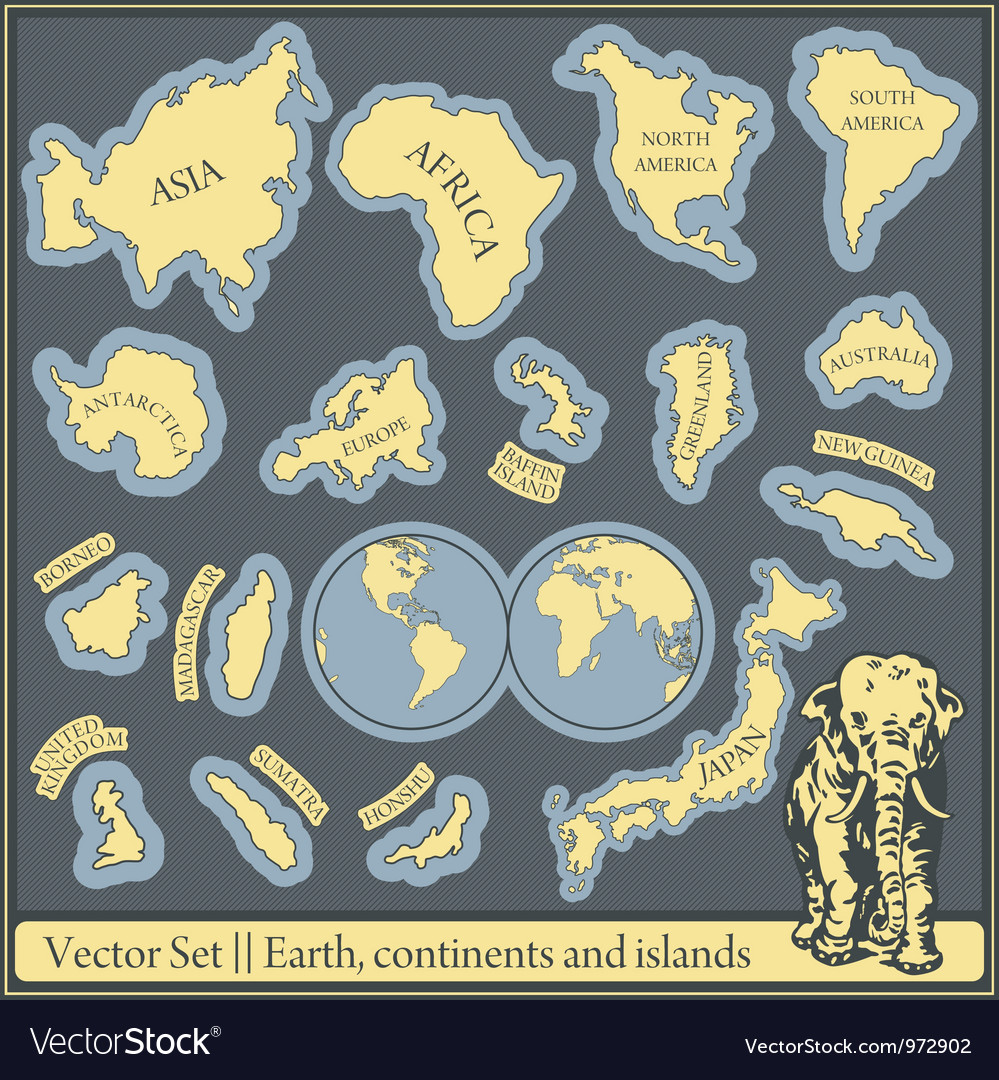 Set of different continents and islands vector | Price: 1 Credit (USD $1)