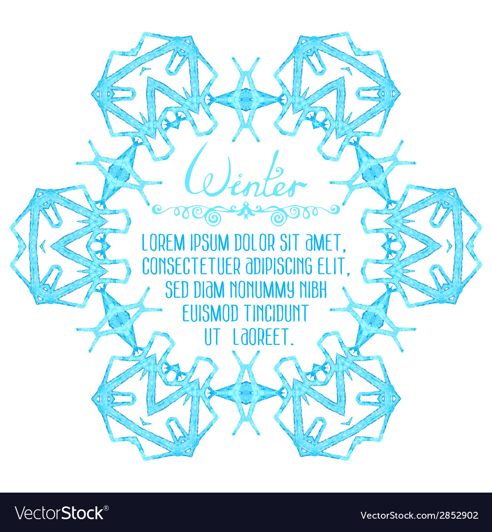 Watercolor snowflake on white background vector | Price: 1 Credit (USD $1)