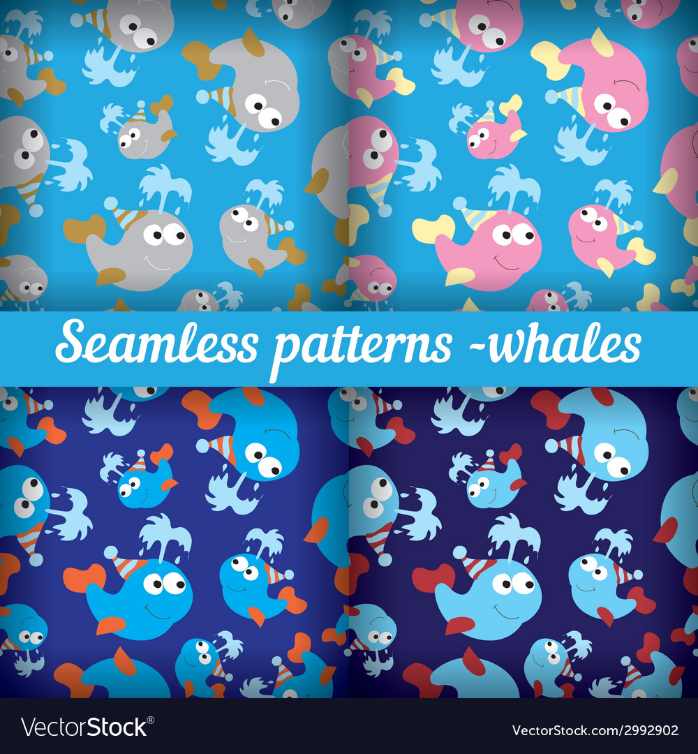 Whales set of abstract seamless pattern template vector | Price: 1 Credit (USD $1)