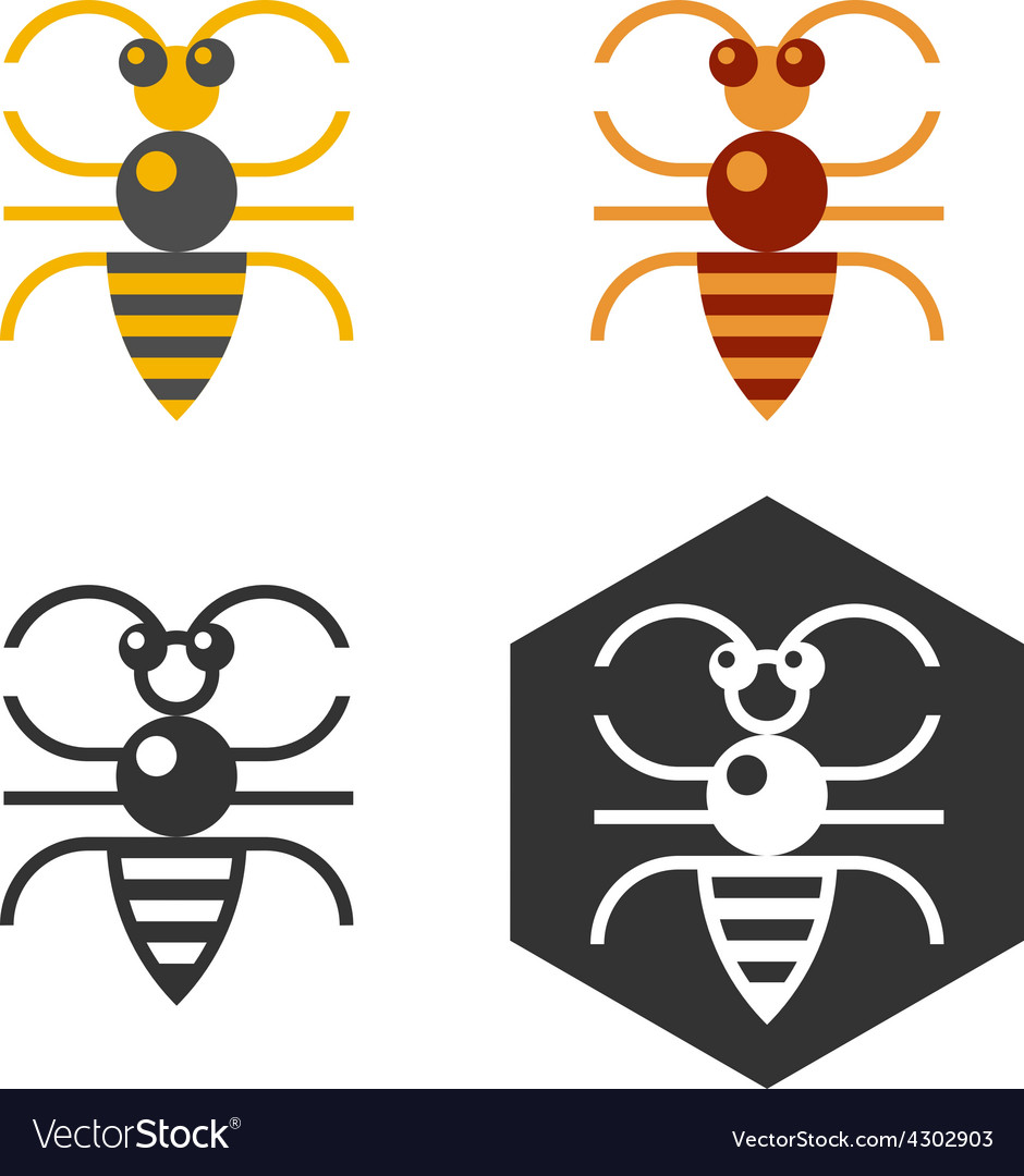 Abstract bee flat element vector | Price: 1 Credit (USD $1)