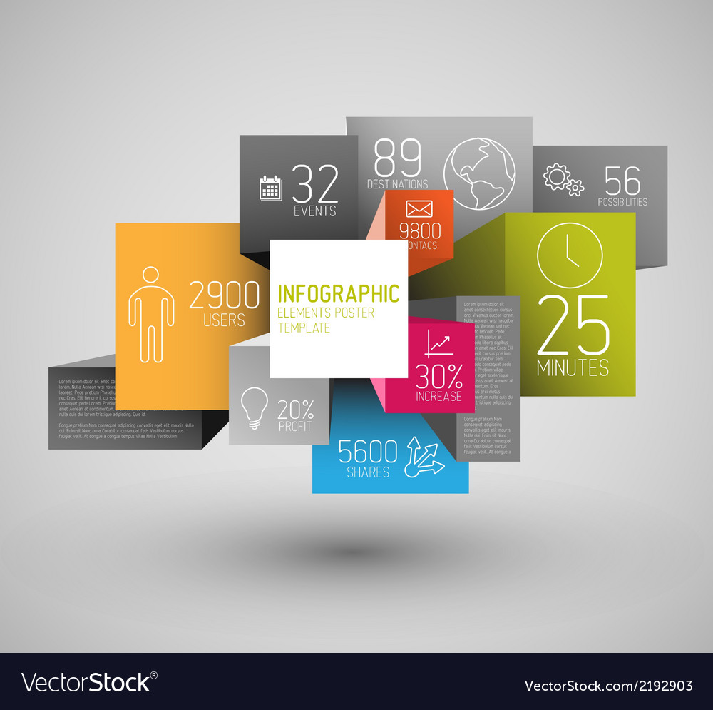 Abstract squares and cubes background info vector | Price: 1 Credit (USD $1)