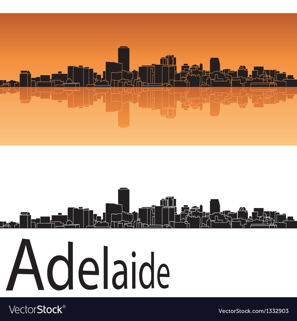 Adelaide skyline in orange background vector | Price: 1 Credit (USD $1)