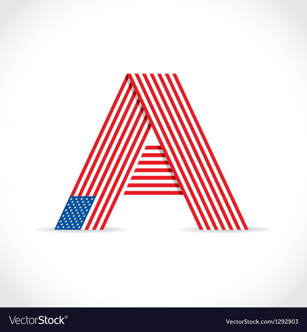 American flag letter vector | Price: 1 Credit (USD $1)