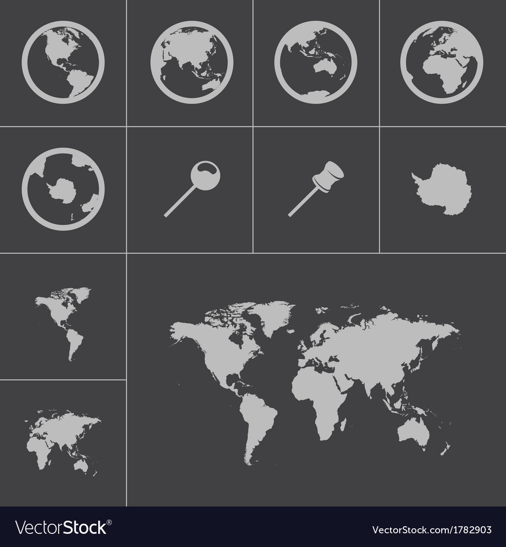 Black world map icons set vector | Price: 1 Credit (USD $1)